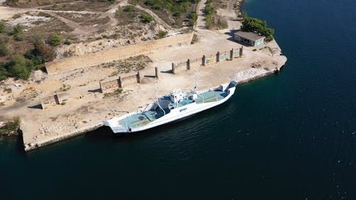 Aerial View of a Boat in the Port
