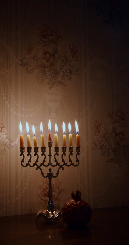 Lighted Candles For Hanukkah