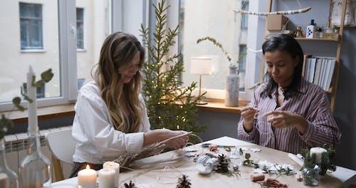 Women Making Christmas Decorations