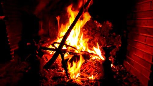 Wood Burning on a Fireplace