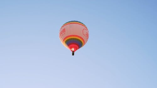 Hot Air Balloon Rising Up in the Sky