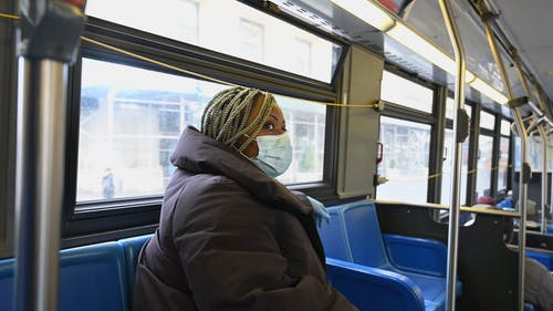 Woman Sitting on the Bus