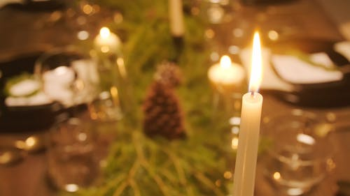 Lighted Candles For Christmas Dinner