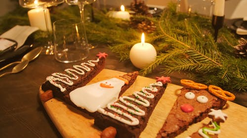 Christmas Brownies On A Wooden Tray