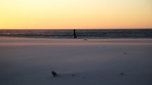 A Person Walking at the Beach