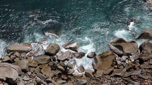 Waves Crashing a Rocky Shore