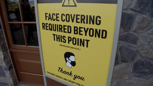 Face Cover Warning Outside a Building