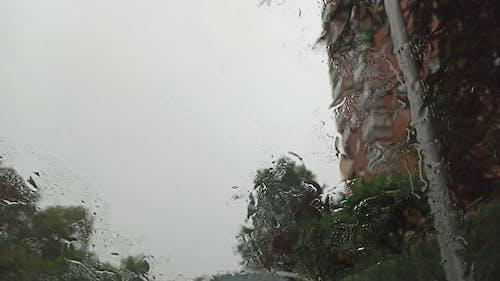 Rain Sliding In Glass Window