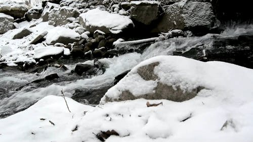 View of a Flowing Water on a Freezing River