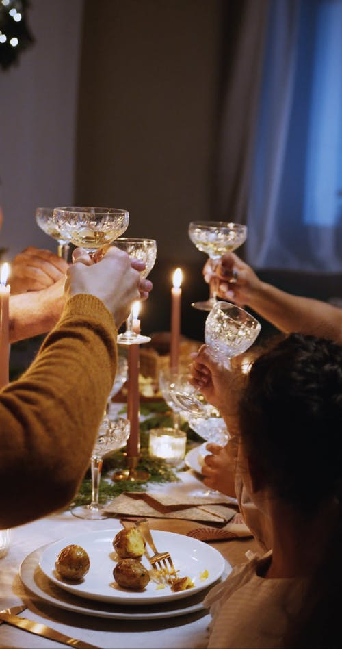 Celebrating Christmas With A Glass Toast