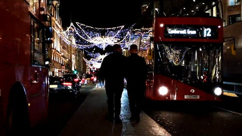 A Night in the Busy Street of London During Christmas