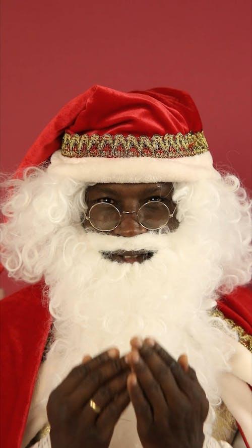 Santa Claus Playing Peek A Boo