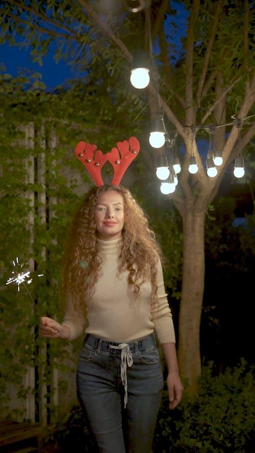 Woman Celebrating Christmas