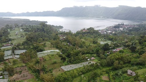 Aerial View of Batur Lake and Surroundings