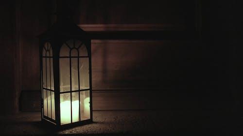 Candle Lantern Burning in the Dark