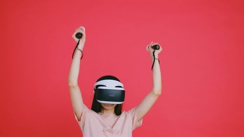 A Woman Playing VR
