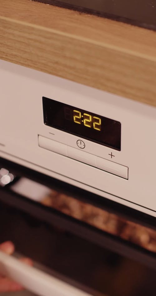 Close-Up Shot of the Oven Timer