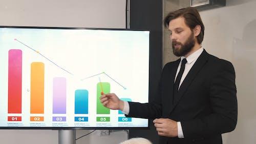 A Man Discussing a Graph Presentation