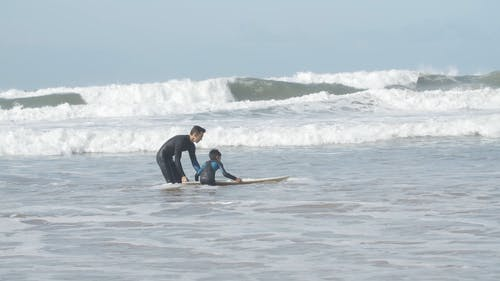 Kid Learning how to Surf