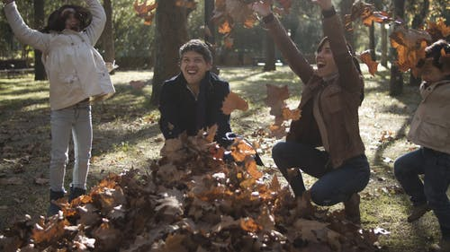 Family Playing with Autumn Leaves in the Park