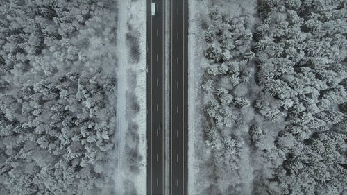 Aerial Footage of a Road and Snow