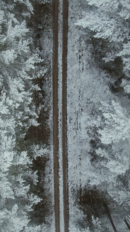 Drone Footage of a Road and Snow