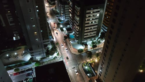 Aerial Footage of the City Night Road