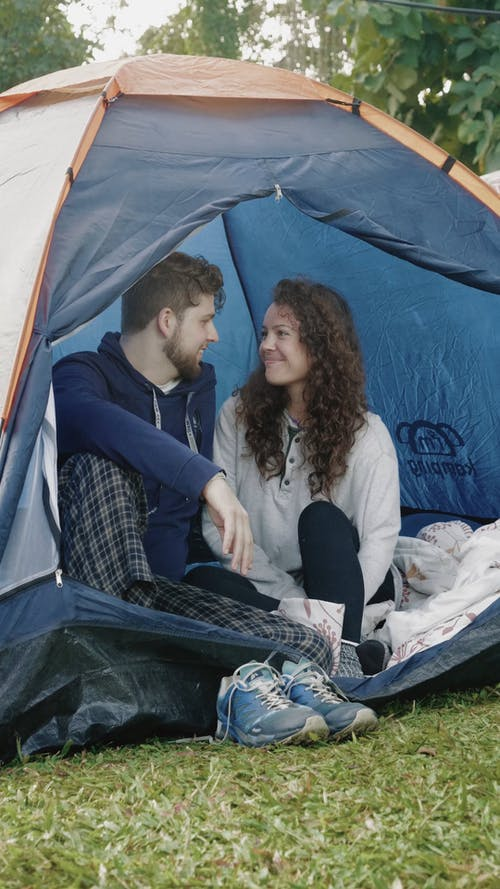 Man And Woman In A Tent