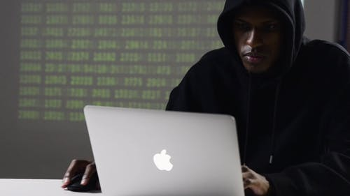 A Man In a Hoody Jacket Using a Laptop