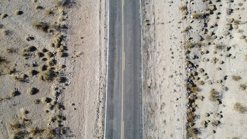 Drone Shot of the Roadway in the Middle of the Desert