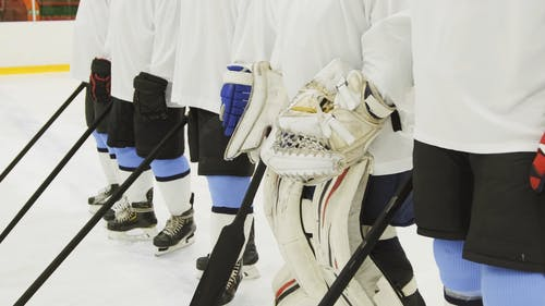 Ice Hockey Players Standing in a Row
