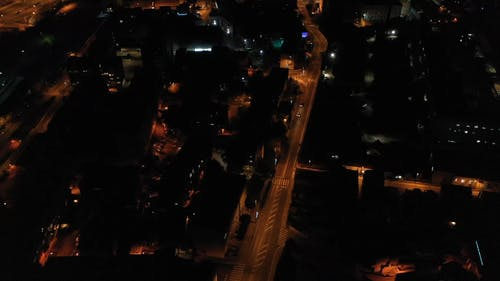 Drone Shot of the City at Night