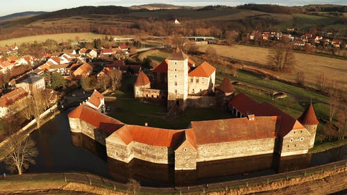 An Aerial Footage of a Castle