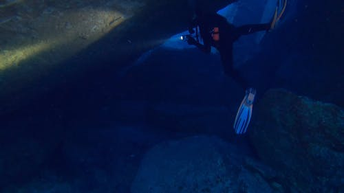 A Dicer Inside An Underwater Cave