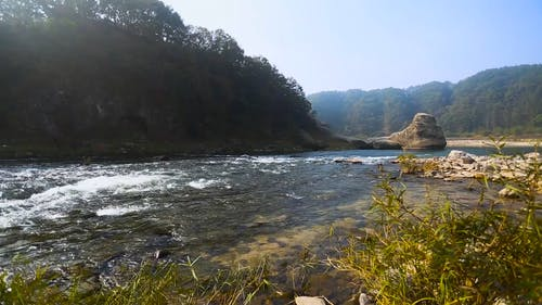 Clear River Flowing from Mountains