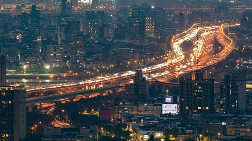 City Traffic In A Time Lapse Video