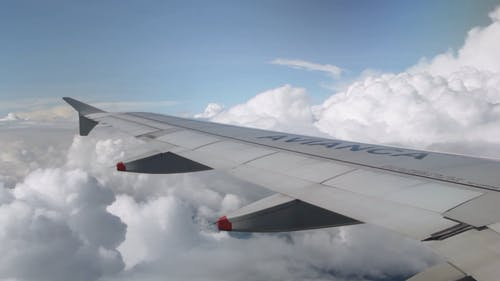 Airplane Wing while Flying in the Sky