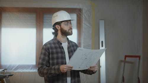 Man at Work in a Construction
