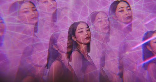 Video of a Woman with Kaleidoscopic Effect