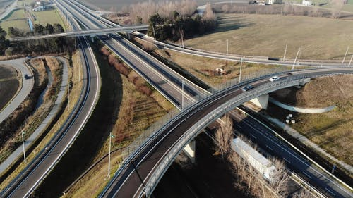 A Drone Shot of a Busy Highway