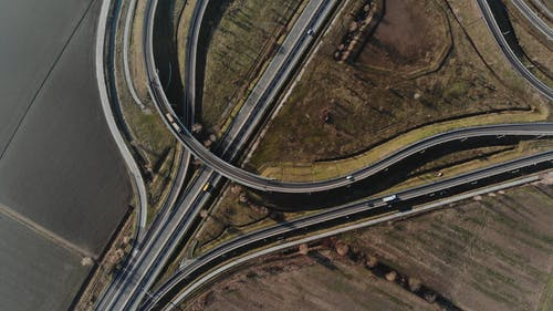 A Birds Eye View of an Highway Interchange