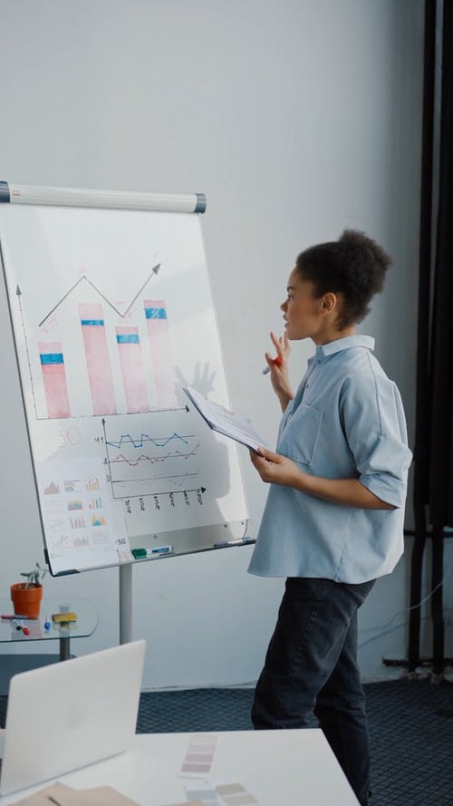A Woman Discussing the Business Graph and Chart