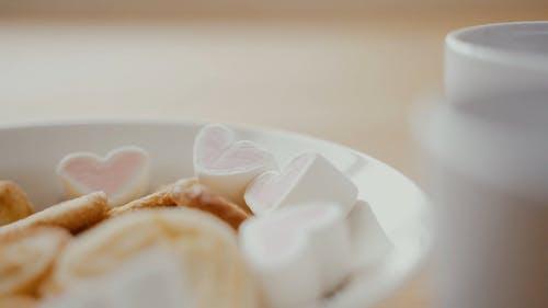 Close Up Shot of Heart Shape Marshmallow