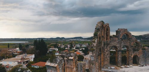 Ancient Ruins Next to Village
