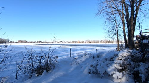 Wide Angle Shot of a Frozen River