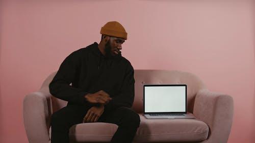 Man Touching Laptop