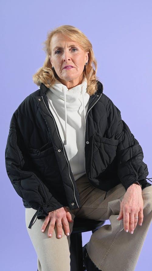 Elderly Woman Wearing Black Jacket