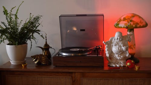 A Record Player beside a Plant and Buddha Figurine