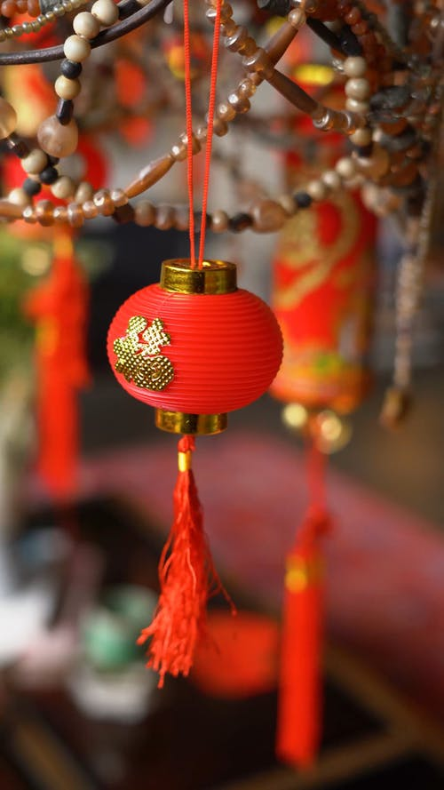 Chinese New Year Decorations Hanging On Display