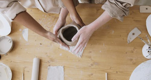 Top View of a Person Making a Clay Pot